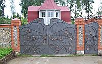 """Кованые ворота с калиткой. Ручная ковка. Покраска Качественной эмалью """"Снежка"""""""