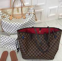 Сумка копия Louis Vuitton neverfull  monogram , сумки Луивитон люкс копия с документами и пыльником