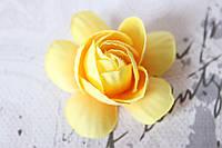 Декоративные цветы камелии диаметр 5 см, желтого цвета без ножки
