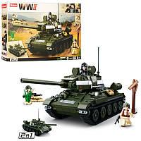 Конструктор Военный из серии WW2 - танк вторая мировая на 686 деталей, SLUBAN M38-B0689