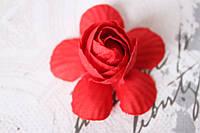 Декоративные цветы камелии диаметр 5 см, красного цвета без ножки