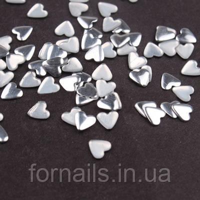 Заклепки для ногтей, сердца серебряные 50 шт