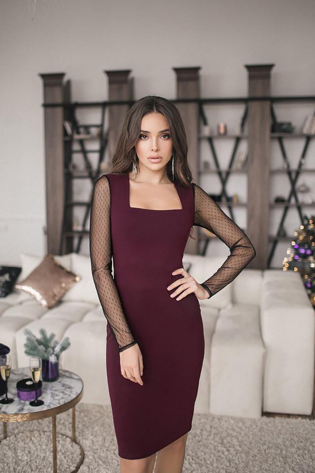Женское платье футляр Кортни рукава сетка Красный, 42