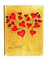 """Валентинка - открытка деревянная """"Дерево Любви"""", романтические валентинки сердца любви"""
