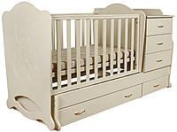 """Детская кроватка-трансформер """"Мишка со стразами"""" 3 в 1 Angel baby"""