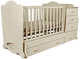 """Детская кроватка-трансформер с комодом """"Мишка со стразами"""" 3 в 1 Angel baby"""