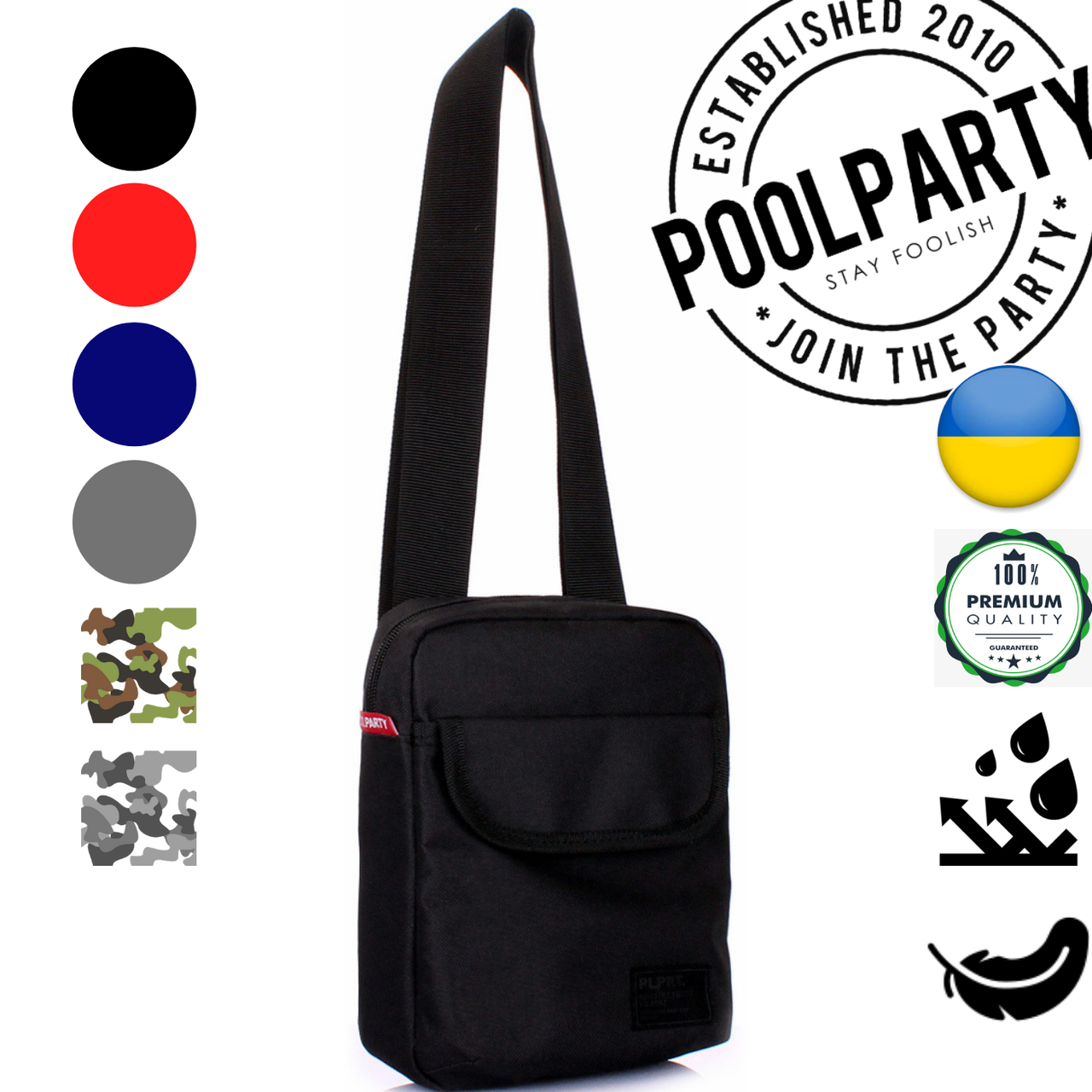 10bdf21e2859 Мужская сумка черная Poolparty Extreme Oxford Black полиэстер с ремнем на  плечо - abaz.com