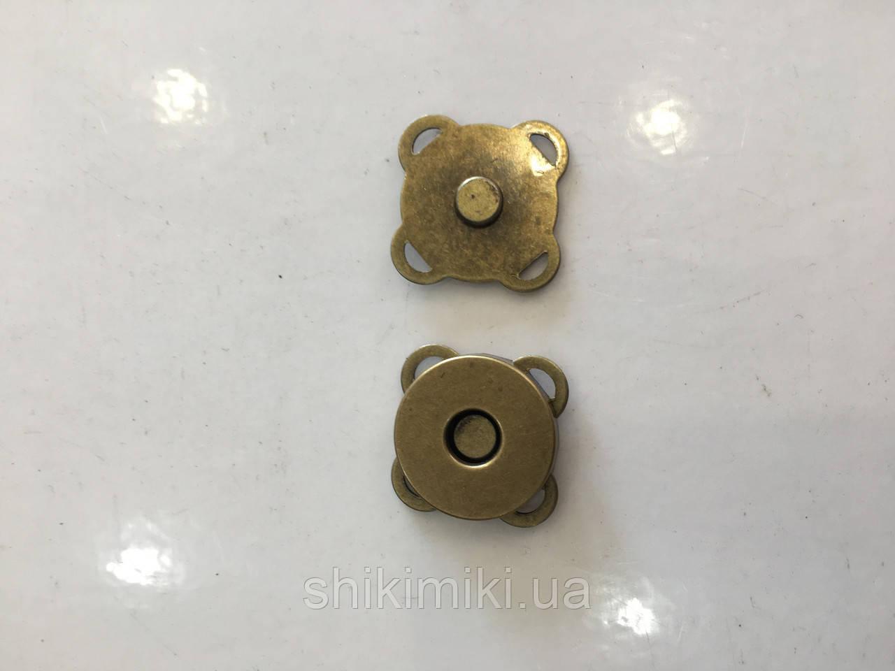 Магнитные кнопки пришивные 18 мм MP01-4, цвет антик