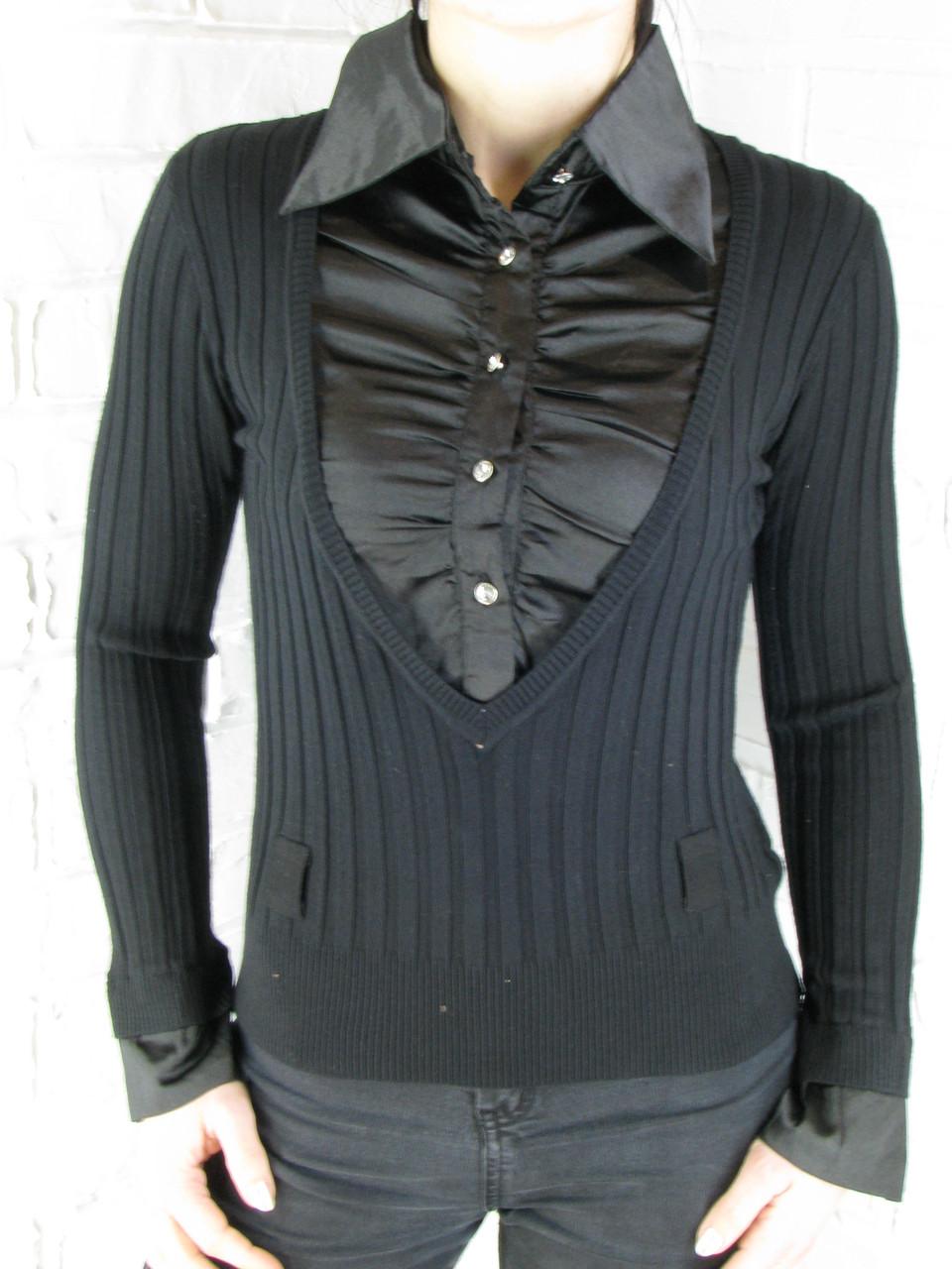 Джемпер с рубашкой 9700 черный