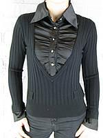 Джемпер с рубашкой 9700 черный, фото 1