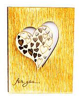 """Открытка деревянная """"Сердце"""", деревянная валентинка, открытка на день влюбленных"""