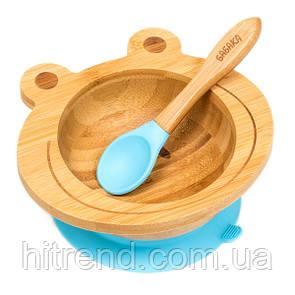 Набор детской посуды из бамбука на присоске Бабака, 250 мл. Голубая - 140112