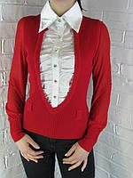 Джемпер с рубашкой 9711 красный, фото 1