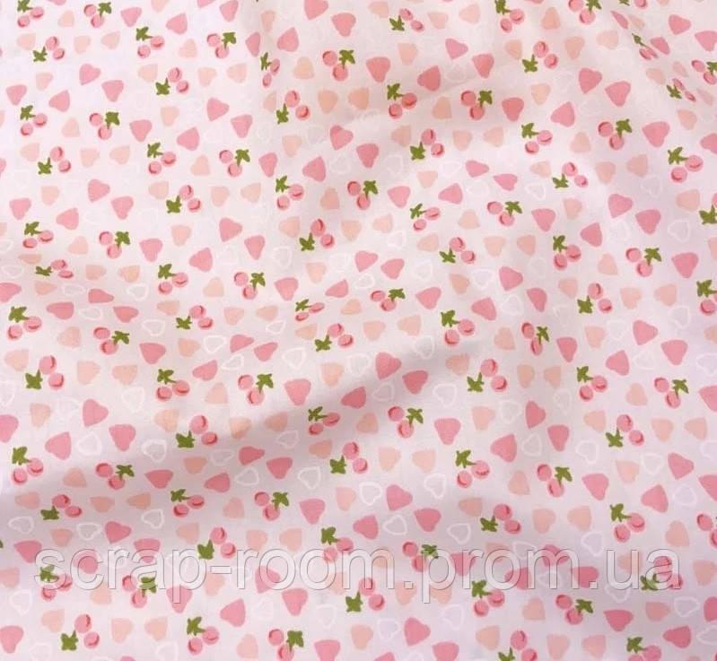 Ткань хлопок 100% Сердечки персиково-розовые на персиковом фоне, сердечки хлопок, Корея отрез 20 на 50 см