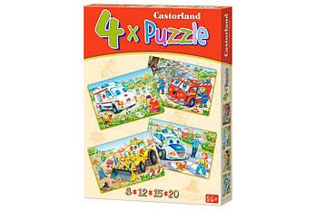 """Пазлы Castorland B-04201 4 в 1 """"Весёлые машинки"""" 4,5,6,7 элементов (B-04201)"""