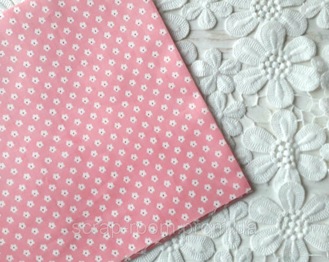 Ткань хлопок 100% Розовая в мелкие цветочки, цветочный хлопок, Корея отрез 20 на 50 см