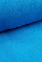 Льняная костюмная ткань бирюзового цвета