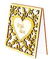 """Деревянная открытка-валентинка """"Сердце With love"""", трогательные валентинки-открытки самым любимым"""