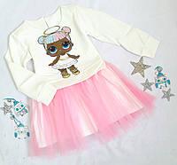 """Платье нарядное """"Лола"""", трикотаж+евросетка и атлас, размер 98-122, молочный+розовый"""