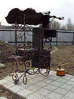 Кованый мангал с коптильней и печью для казана