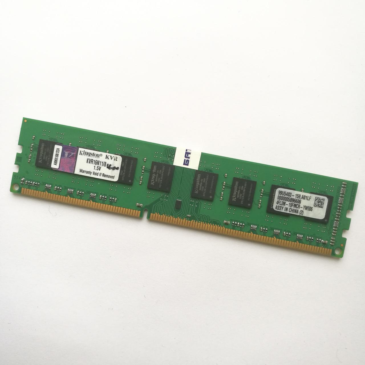 Оперативная память Kingston DDR3 8Gb 1600MHz PC3-12800 2R8 CL11 (KVR16N11/8) Б/У
