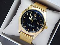 Кварцевые наручные часы Rolex золотого цвета со стразами, кольчужный браслет, с датой , фото 1
