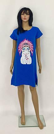 Домашнее платье туника с разрезами по бокам из хлопкового трикотажа с накатом  44-56 р, фото 2