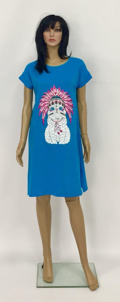 Домашнее платье туника с разрезами по бокам из хлопкового трикотажа с накатом  44-56 р