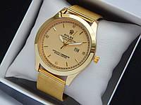 Кварцові наручні годинники Rolex золотого кольору зі стразами, кольчужний браслет, з датою, фото 1