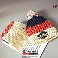 Шапка + шарф зимние Outside бежевые