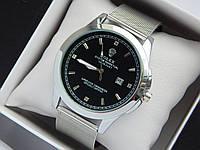 Кварцевые наручные часы Rolex серебристого цвета со стразами, кольчужный браслет, с датой , фото 1