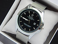 Кварцові наручні годинники Rolex сріблястого кольору зі стразами, кольчужний браслет, з датою, фото 1