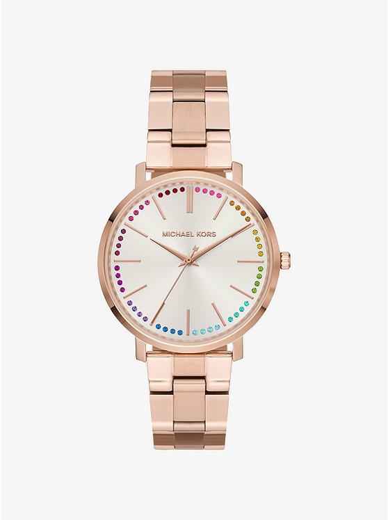 Часы Michael Kors Jaryn Rainbow Pavé Rose Gold-Tone MK3893