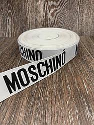 Лента респ с надписью NOSCHINO белая 100 ярд, ширина 4 см