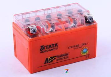 Аккумулятор 7Аh-YTX7A-BS OUTDO (гелевый, оранж. С ИНДИКАТОРОМ) 150*86*94mm