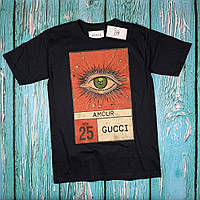 Черная футболка Gucci Eye • Топовая бирка • Люкс