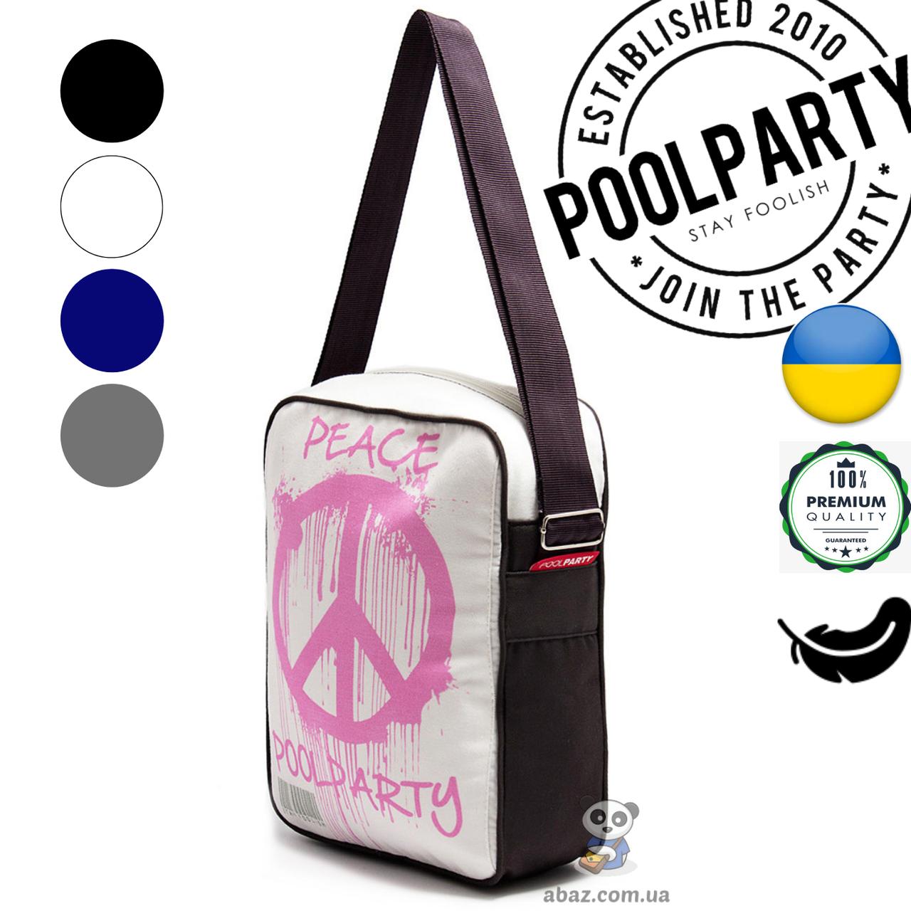 a7d97ab54796 Мужская сумка белая Poolparty Pool18 Peace хлопок с ремнем на плечо -  abaz.com.