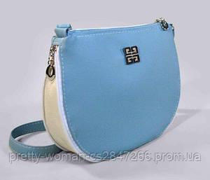Наплечная женская голубая сумка