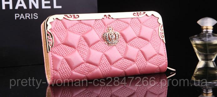 Кошелек женский лаковый Корона розовый