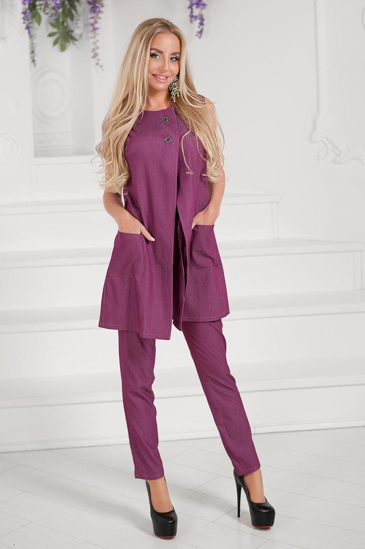 """Джинсовый брючный женский костюм """"Norrington"""" с туникой без рукавов (2 цвета)"""