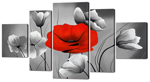 Модульная картина Interno Холст Красный Мак 158х86см (R841XL)