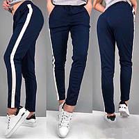 Спортивные штаны женские с лампасом / темно-синие