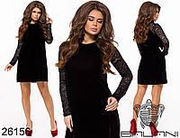Короткое велюровое платье с гипюровыми рукавами размеры S-XL, фото 1