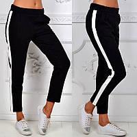 Спортивные штаны женские с лампасом / черные