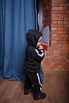 Черный спортивный костюм из трикотажа для мальчика с собакой, фото 3