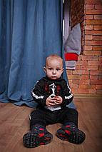 Черный спортивный костюм из трикотажа для мальчика с собакой, фото 2