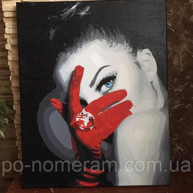 Раскраска по цифрам девушка в красных перчатках