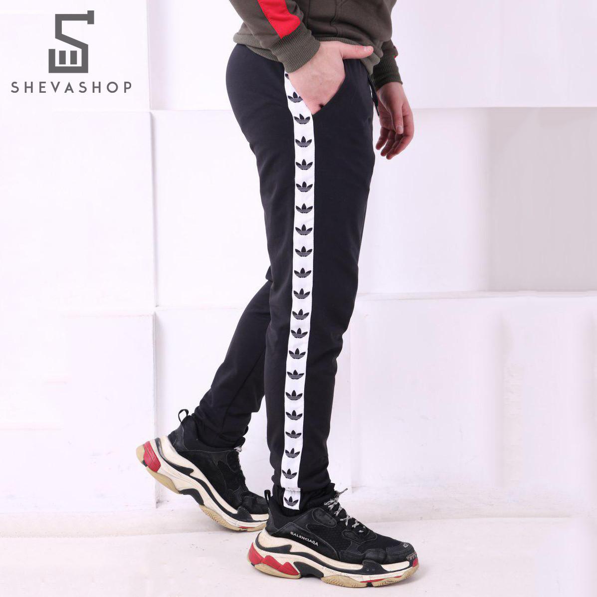 e79afa88 Спортивные штаны Adidas line черные с белым (реплика) - купить по ...