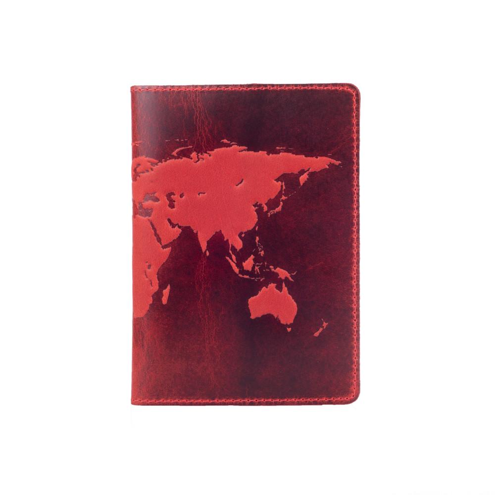 """Красная дизайнерская кожаная обложка для паспорта с отделением для карт, коллекция """"World Map"""""""