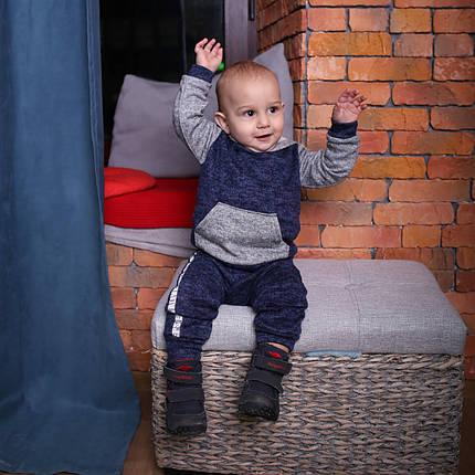 Темный спортивный костюм для мальчика с капюшоном, фото 2